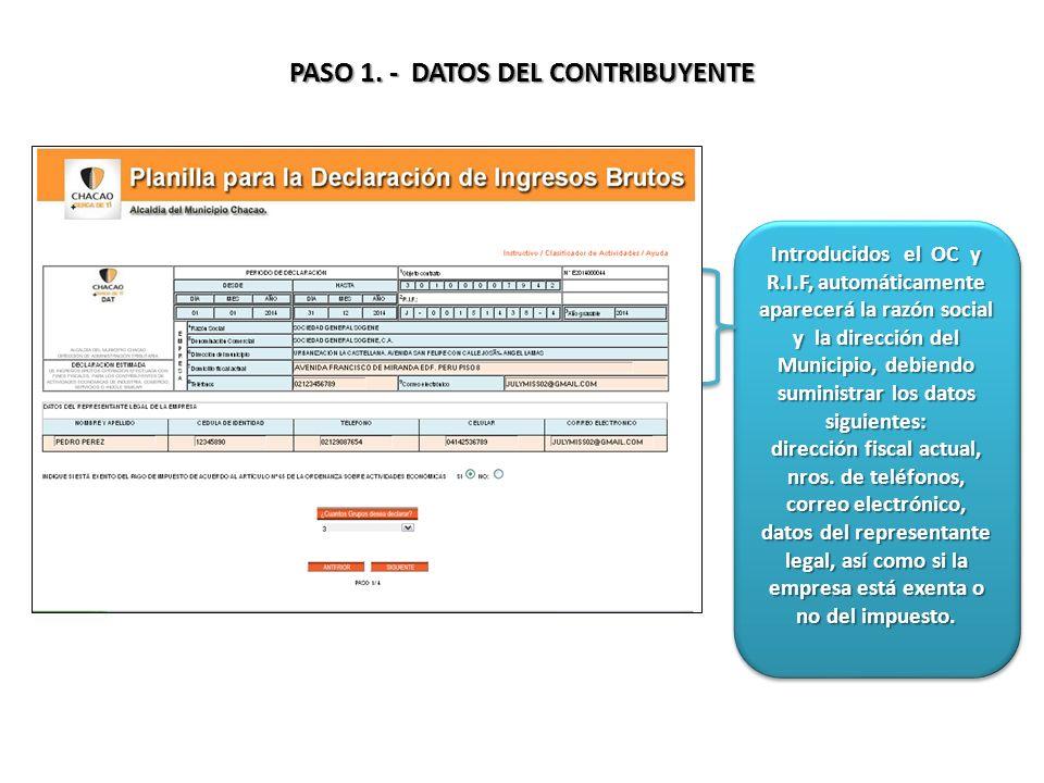 PASO 1. - DATOS DEL CONTRIBUYENTE