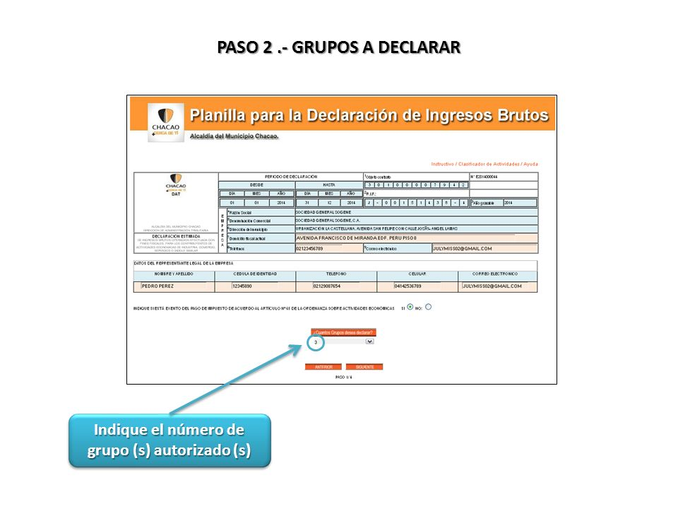 PASO 2 .- GRUPOS A DECLARAR