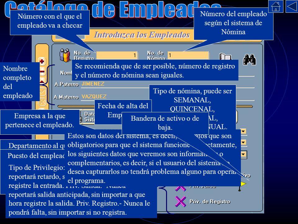 Catálogo de Empleados Número del empleado según el sistema de Nómina