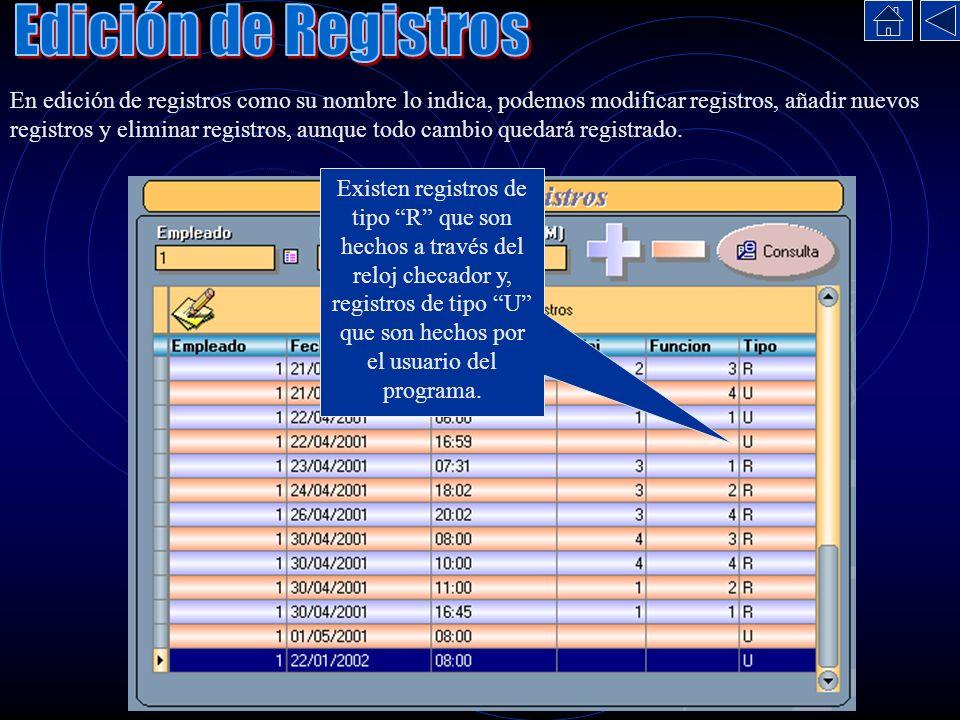 Edición de Registros