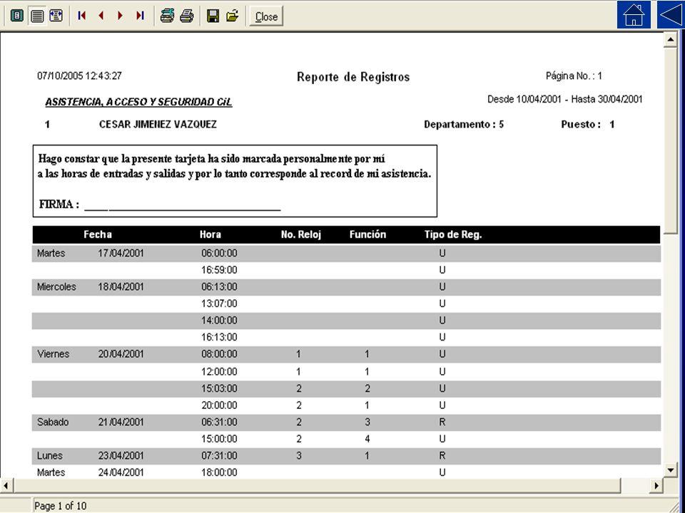 Reporte de Registros Este reporte muestra unicamente los registros hechos en el reloj (o hechos por el operador del programa).
