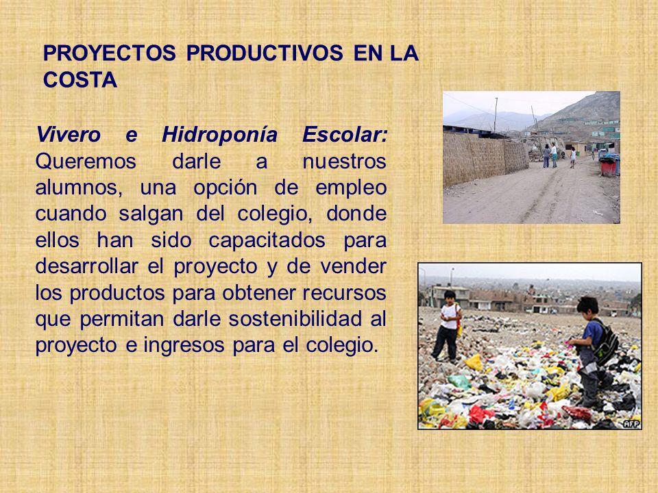 PROYECTOS PRODUCTIVOS EN LA COSTA