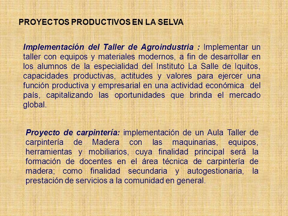 PROYECTOS PRODUCTIVOS EN LA SELVA