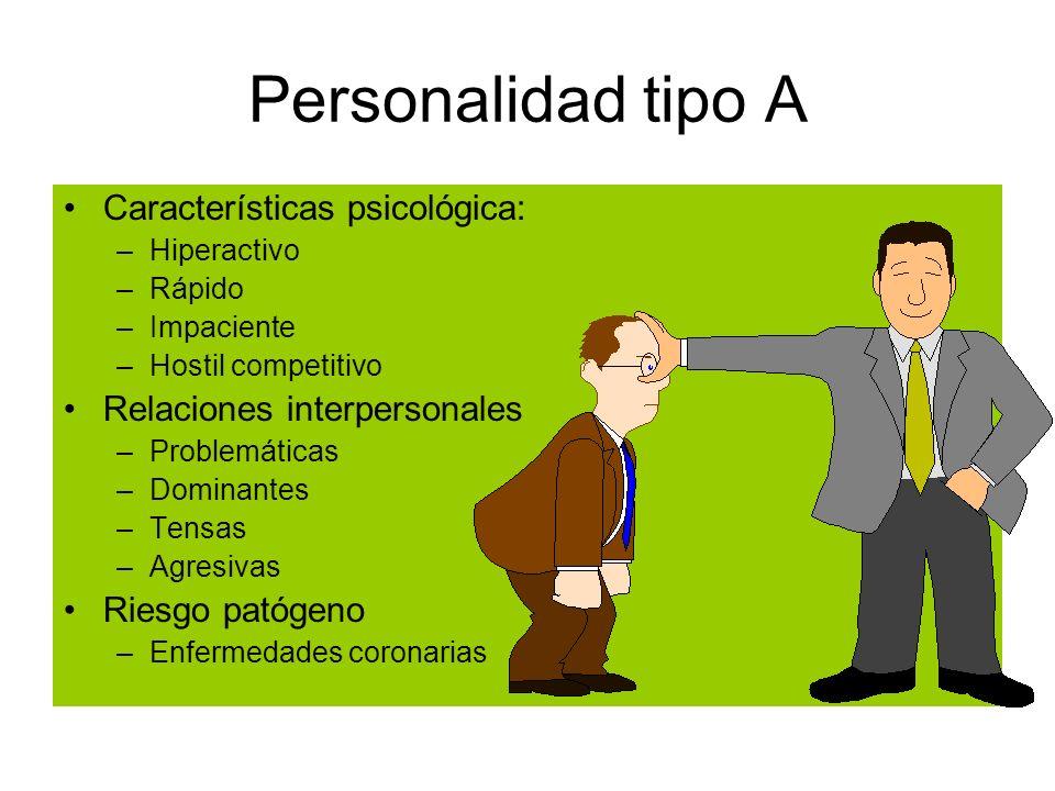Personalidad tipo A Características psicológica: