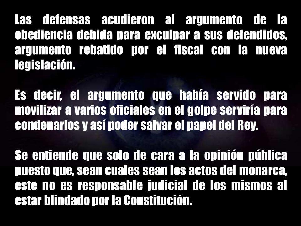Las defensas acudieron al argumento de la obediencia debida para exculpar a sus defendidos, argumento rebatido por el fiscal con la nueva legislación.