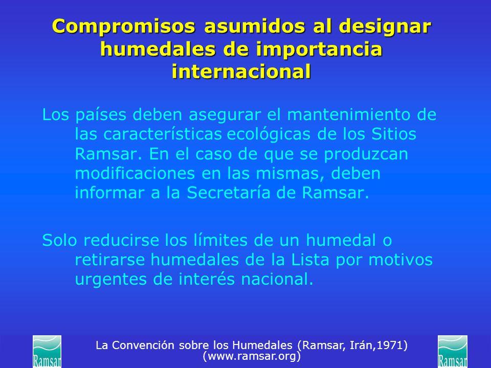 Compromisos asumidos al designar humedales de importancia internacional