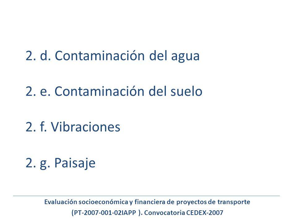 2. d. Contaminación del agua 2. e. Contaminación del suelo 2. f