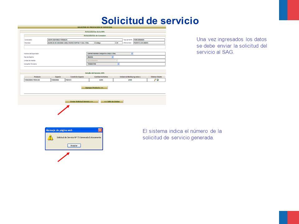 Solicitud de servicio Una vez ingresados los datos se debe enviar la solicitud del servicio al SAG.