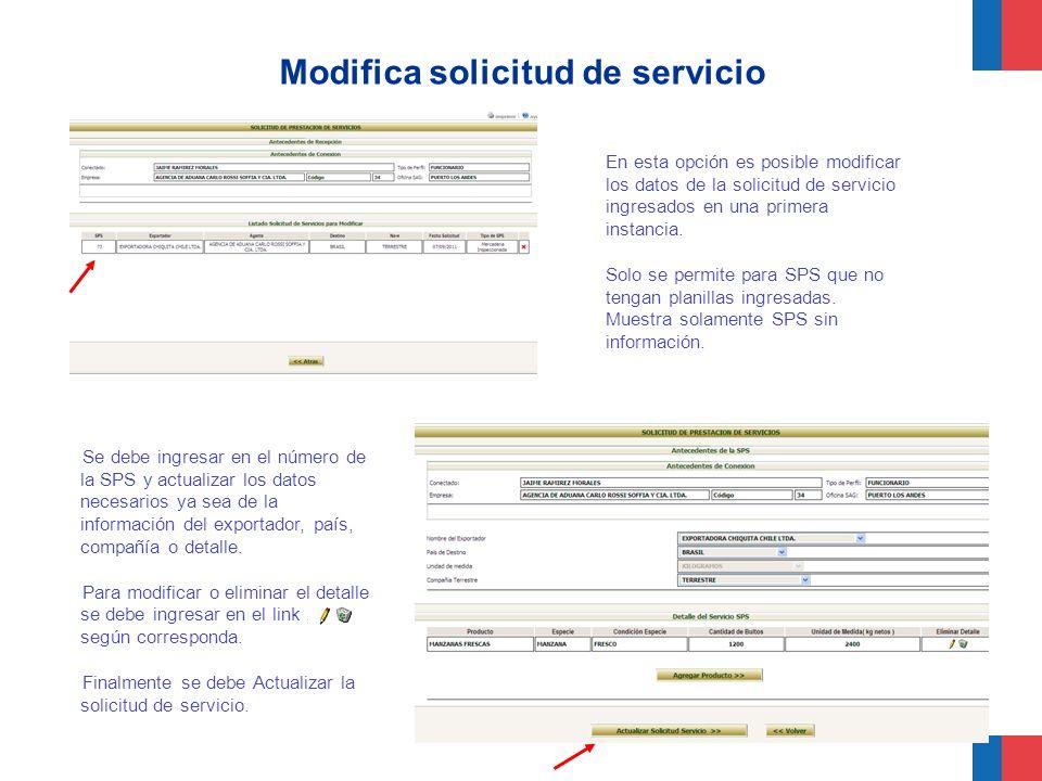 Modifica solicitud de servicio
