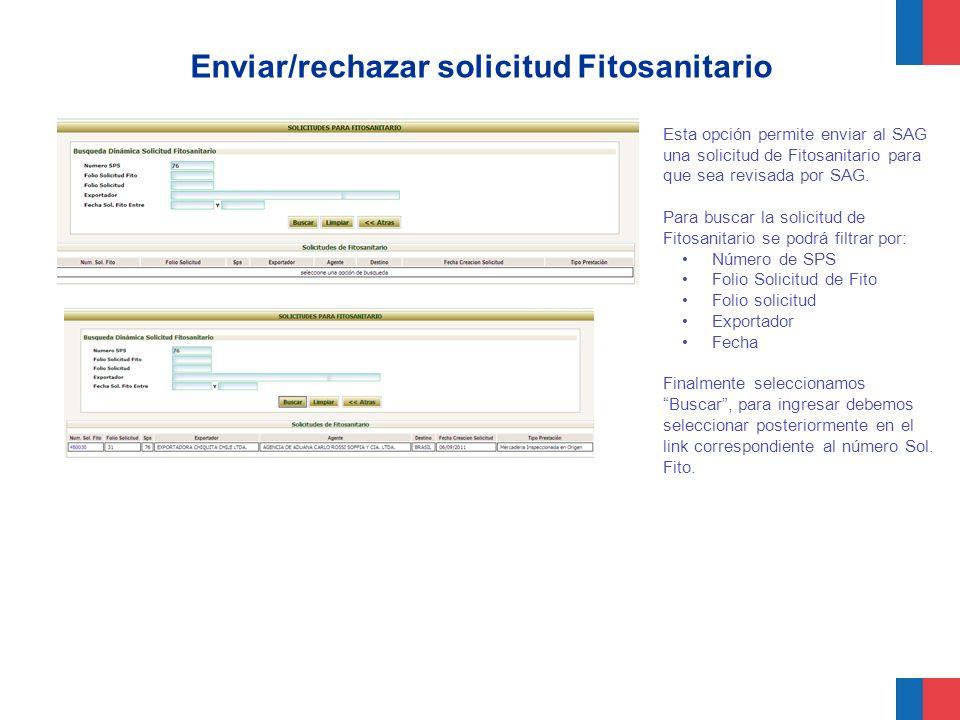 Enviar/rechazar solicitud Fitosanitario