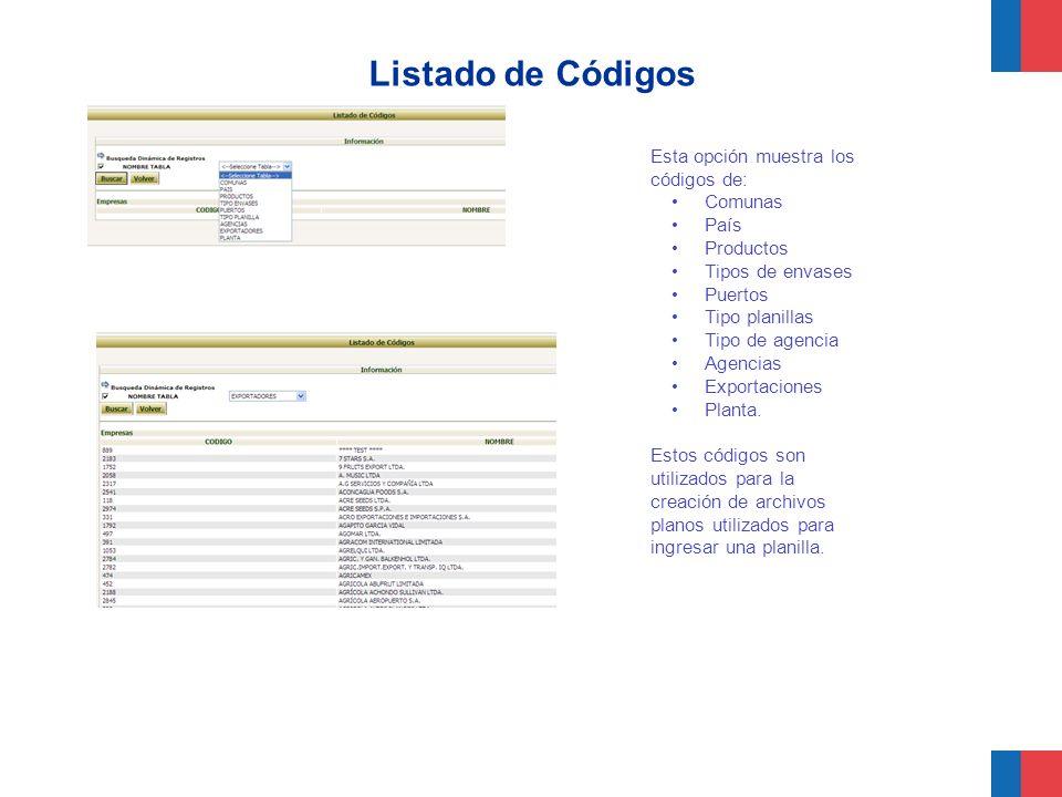 Listado de Códigos Esta opción muestra los códigos de: Comunas País