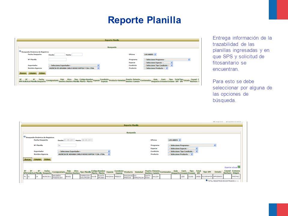 Reporte Planilla Entrega información de la trazabilidad de las planillas ingresadas y en que SPS y solicitud de fitosanitario se encuentran.