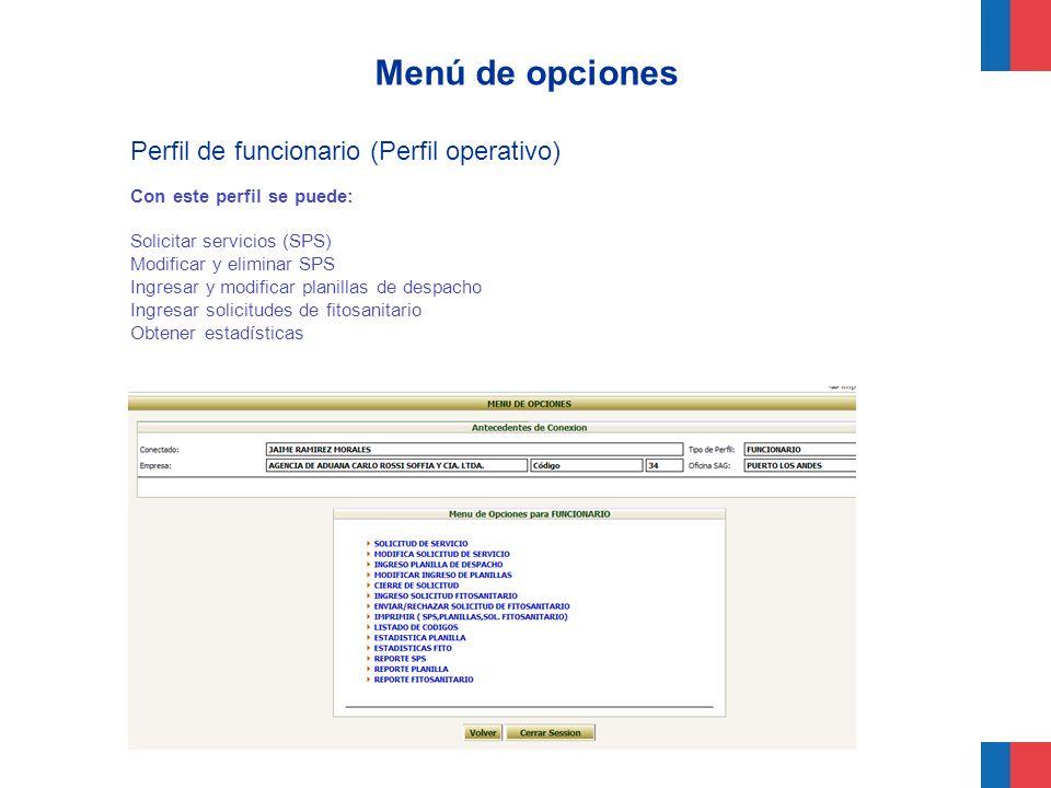Menú de opciones Perfil de funcionario (Perfil operativo)
