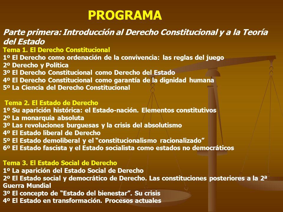 PROGRAMA Parte primera: Introducción al Derecho Constitucional y a la Teoría del Estado. Tema 1. El Derecho Constitucional.