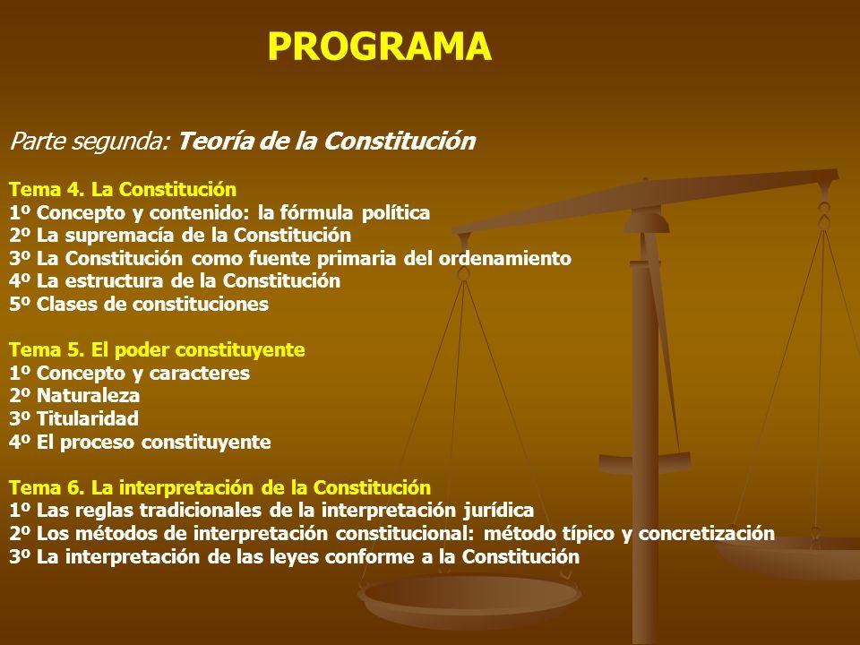 PROGRAMA Parte segunda: Teoría de la Constitución