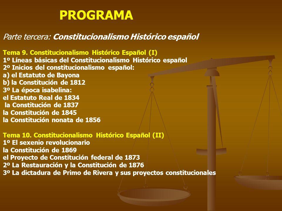 PROGRAMA Parte tercera: Constitucionalismo Histórico español