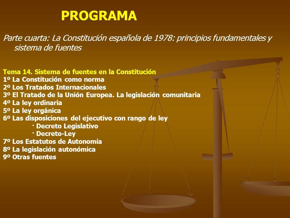 PROGRAMA Parte cuarta: La Constitución española de 1978: principios fundamentales y sistema de fuentes.