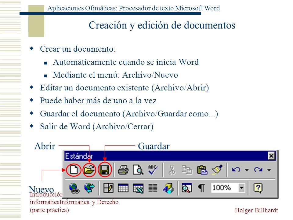 Creación y edición de documentos