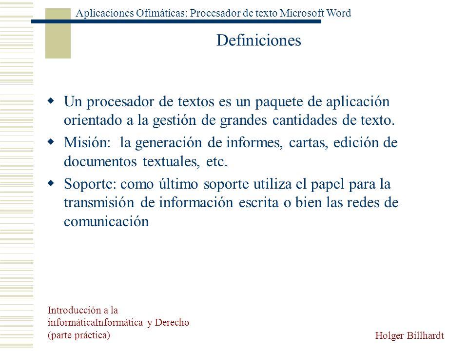 DefinicionesUn procesador de textos es un paquete de aplicación orientado a la gestión de grandes cantidades de texto.