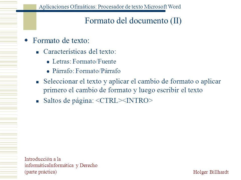 Formato del documento (II)