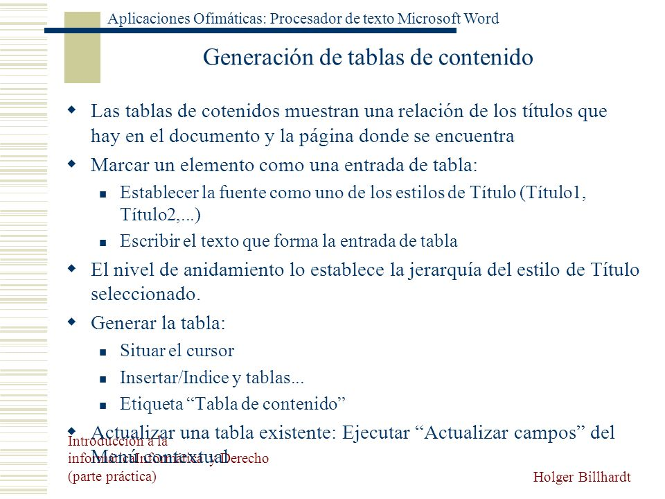Generación de tablas de contenido
