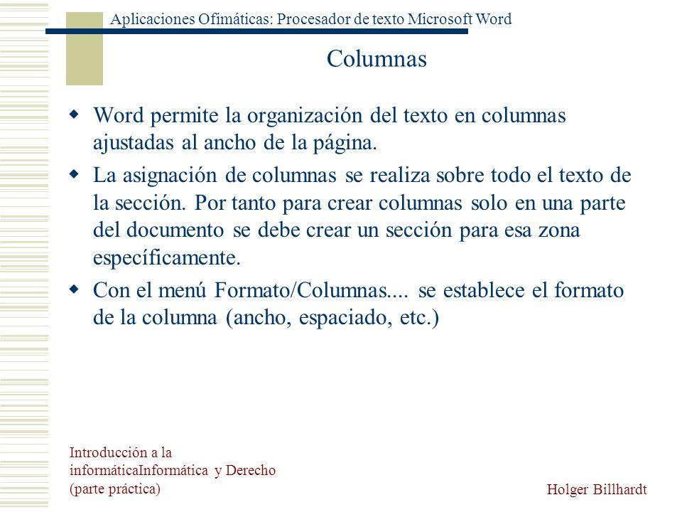 Columnas Word permite la organización del texto en columnas ajustadas al ancho de la página.