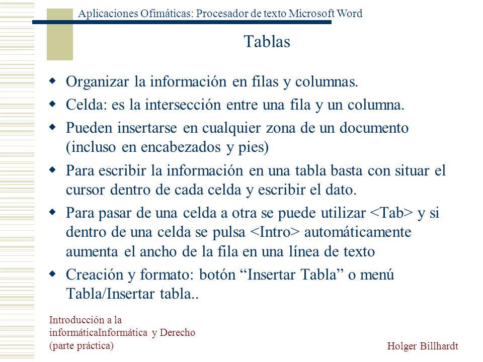 Tablas Organizar la información en filas y columnas.