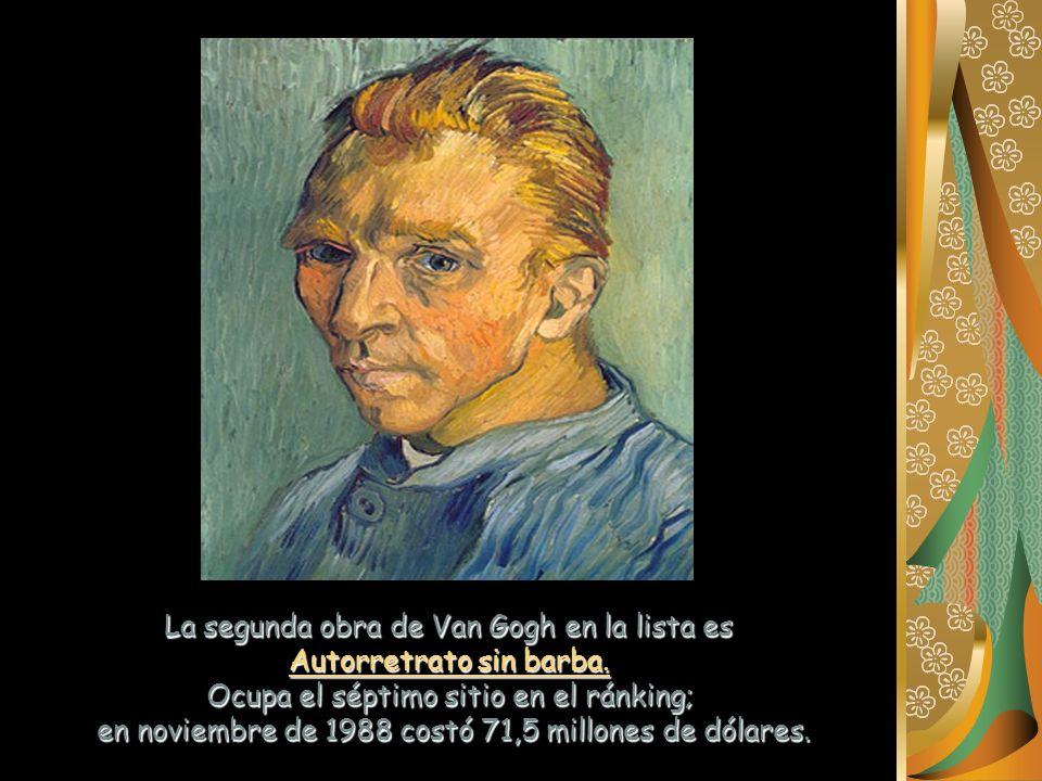 La segunda obra de Van Gogh en la lista es Autorretrato sin barba.