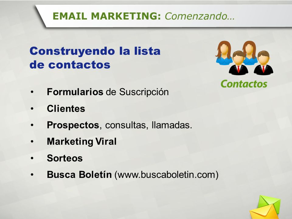 Construyendo la lista de contactos EMAIL MARKETING: Comenzando…
