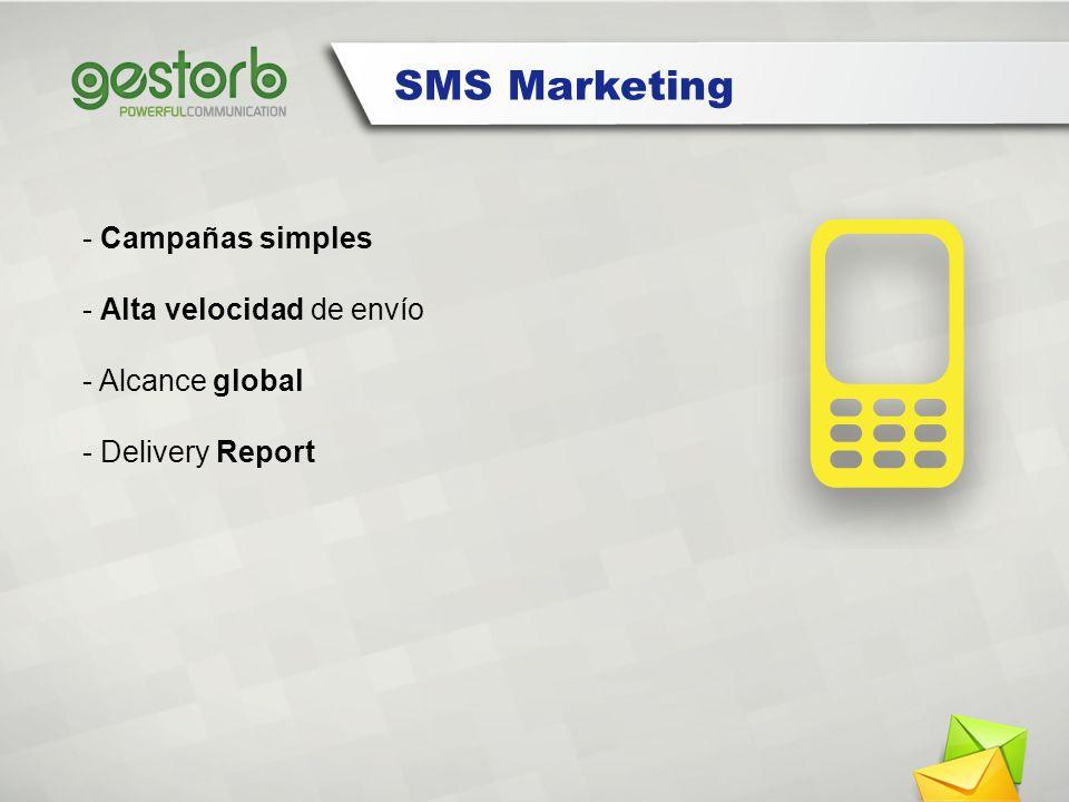SMS Marketing - Campañas simples - Alta velocidad de envío - Alcance global - Delivery Report