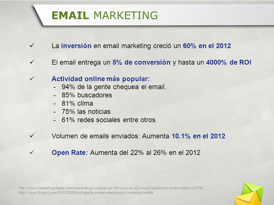EMAIL MARKETING La inversión en email marketing creció un 60% en el 2012. El email entrega un 5% de conversión y hasta un 4000% de ROI.