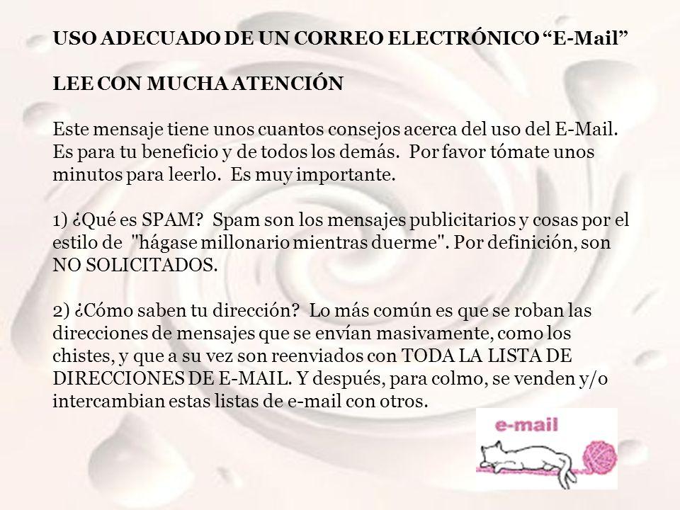 USO ADECUADO DE UN CORREO ELECTRÓNICO E-Mail