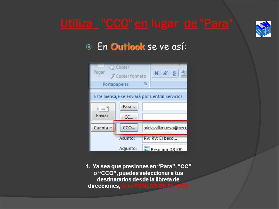 Utiliza CCO en lugar de Para