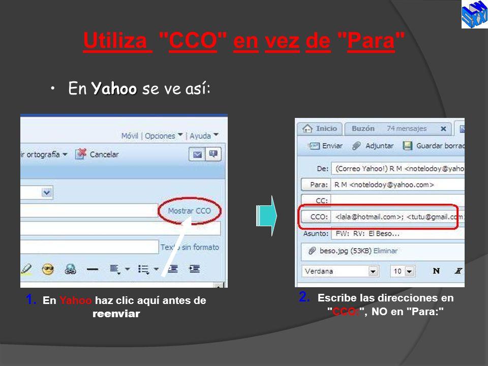 Utiliza CCO en vez de Para
