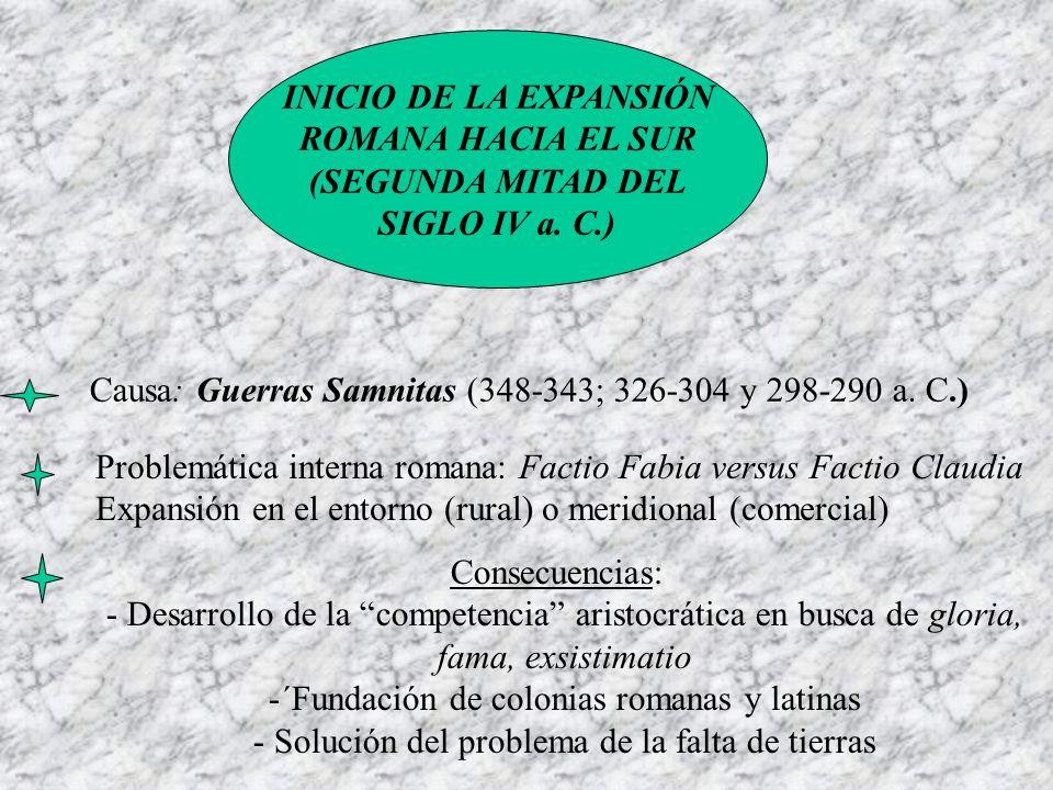 Causa: Guerras Samnitas (348-343; 326-304 y 298-290 a. C.)