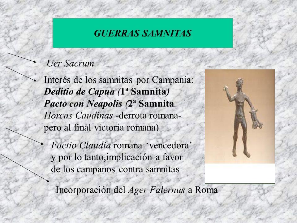 GUERRAS SAMNITAS Uer Sacrum. Interés de los samnitas por Campania: Deditio de Capua (1ª Samnita) Pacto con Neapolis (2ª Samnita.