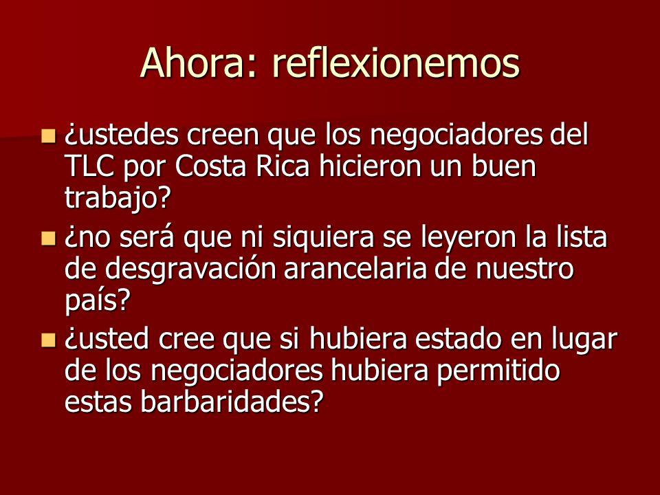Ahora: reflexionemos ¿ustedes creen que los negociadores del TLC por Costa Rica hicieron un buen trabajo