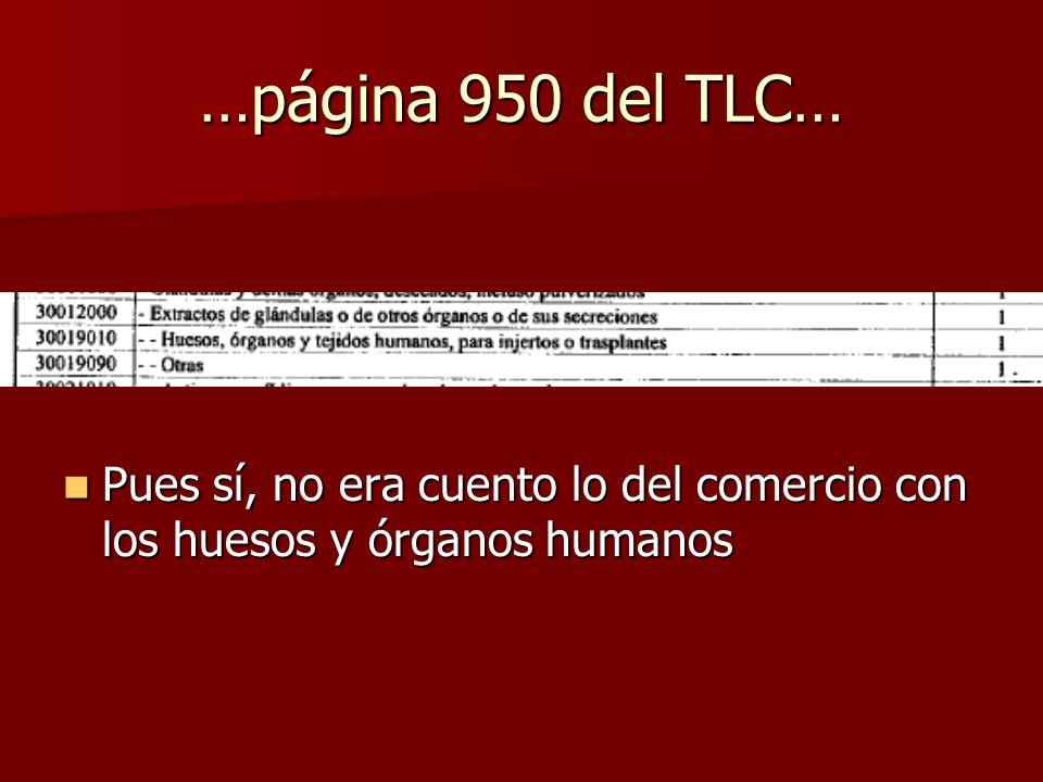 …página 950 del TLC… Pues sí, no era cuento lo del comercio con los huesos y órganos humanos
