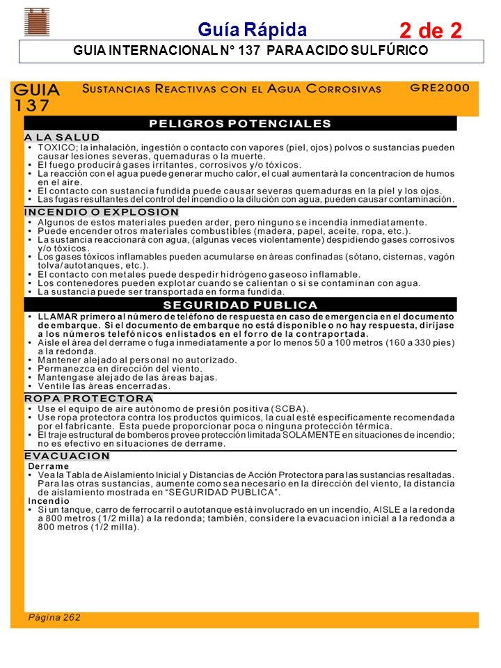 GUIA INTERNACIONAL N° 137 PARA ACIDO SULFÚRICO