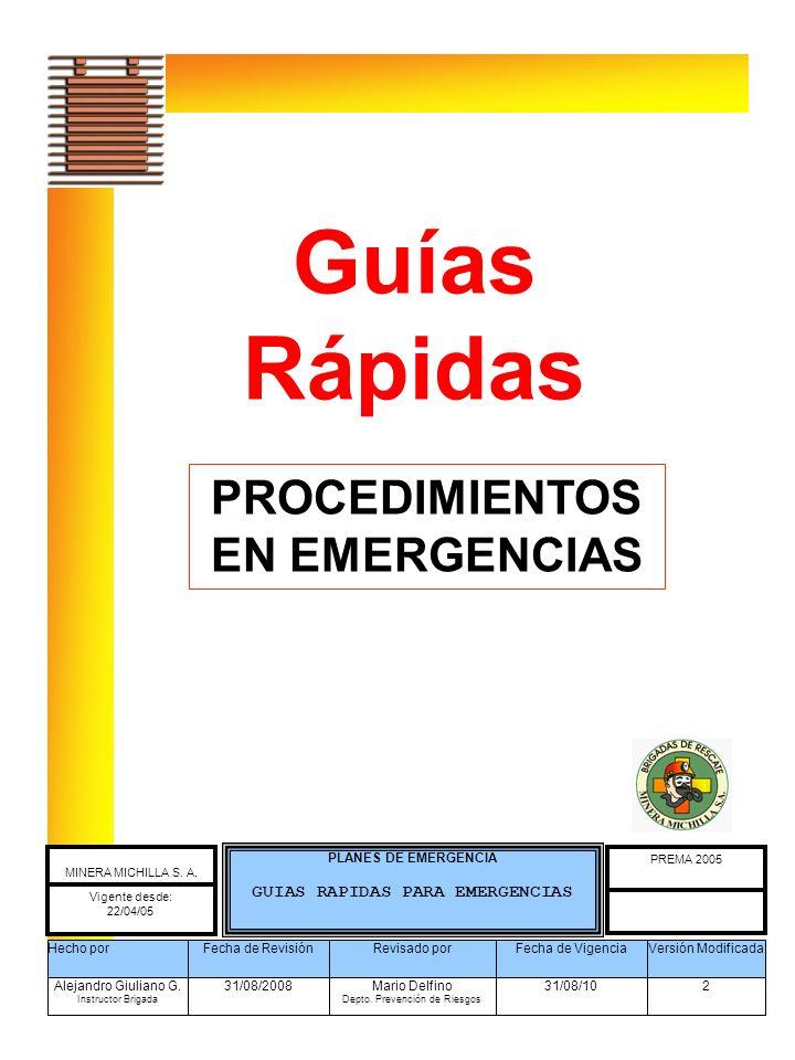 PROCEDIMIENTOS EN EMERGENCIAS