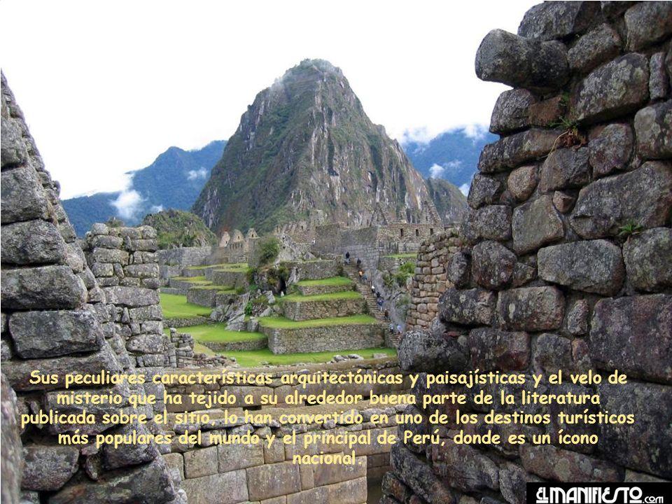 Sus peculiares características arquitectónicas y paisajísticas y el velo de misterio que ha tejido a su alrededor buena parte de la literatura publicada sobre el sitio, lo han convertido en uno de los destinos turísticos más populares del mundo y el principal de Perú, donde es un ícono nacional.