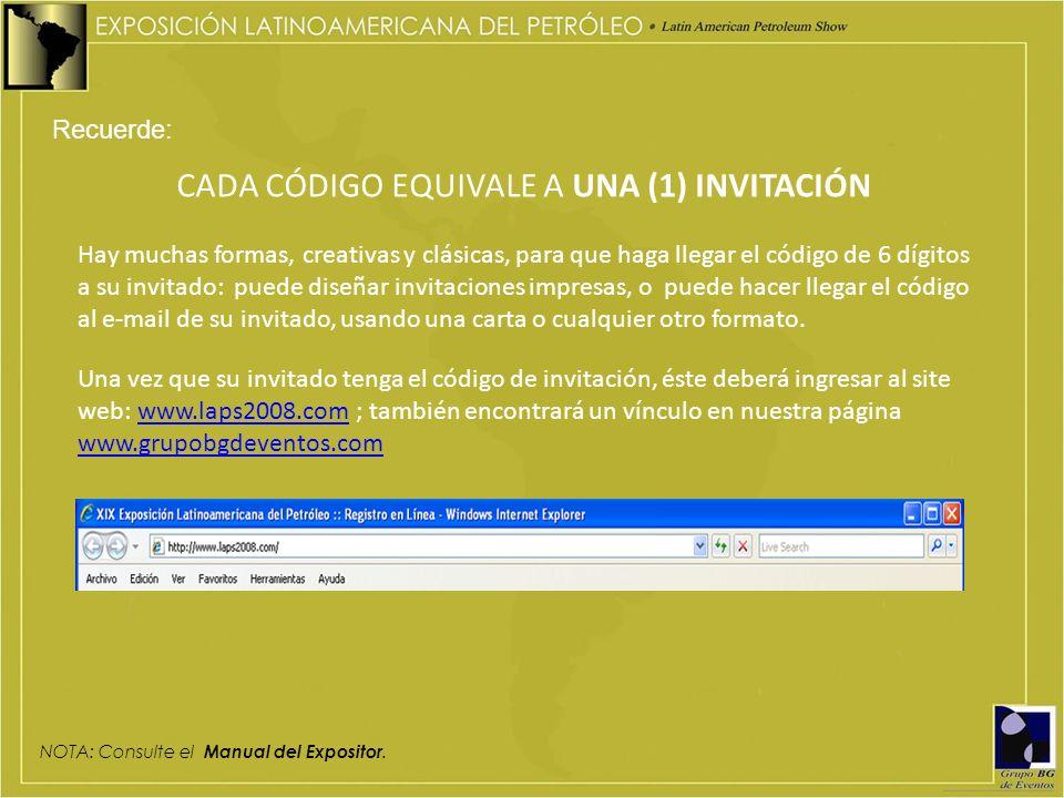 CADA CÓDIGO EQUIVALE A UNA (1) INVITACIÓN