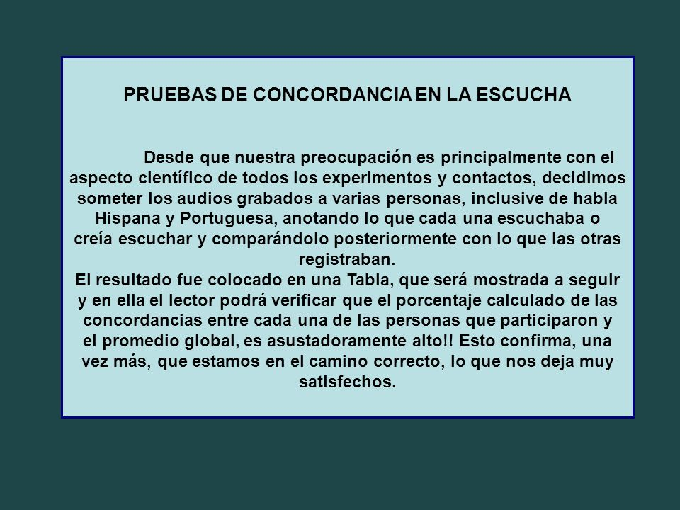 PRUEBAS DE CONCORDANCIA EN LA ESCUCHA