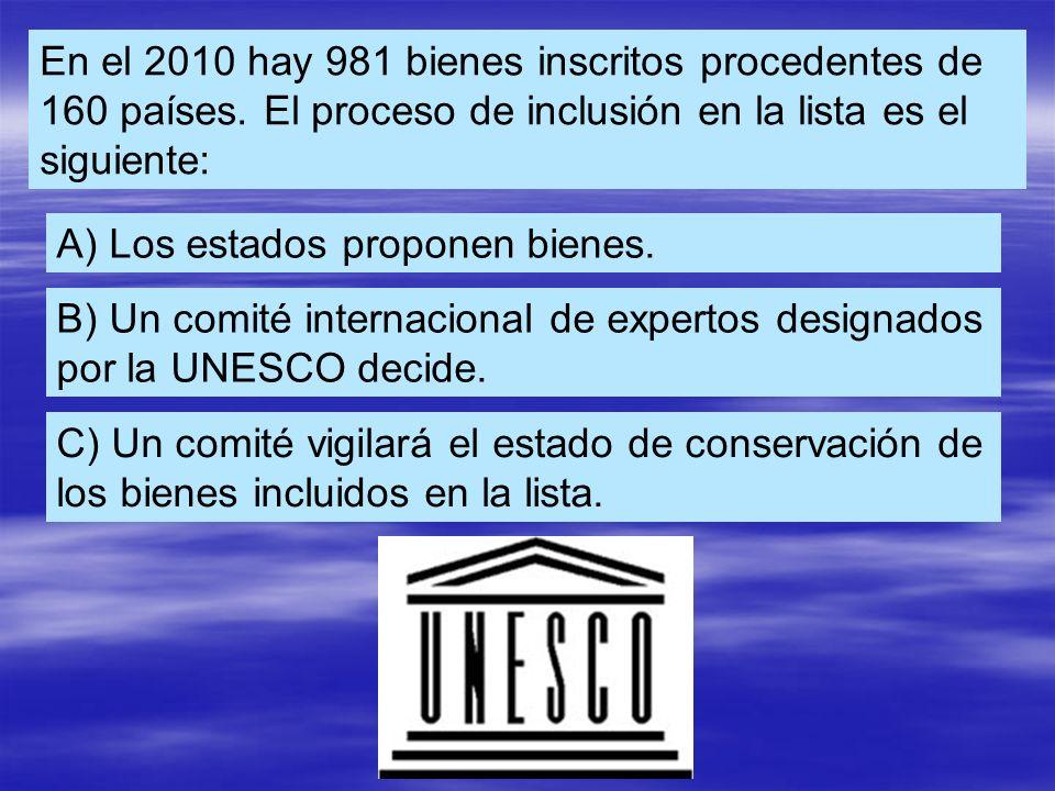En el 2010 hay 981 bienes inscritos procedentes de 160 países