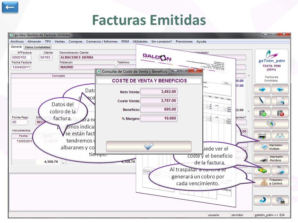 Facturas Emitidas ← Datos de cabecera de la factura.