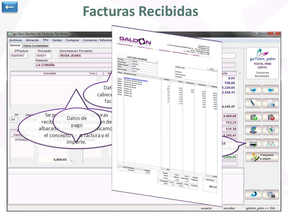 Facturas Recibidas ← Datos de cabecera de la factura.
