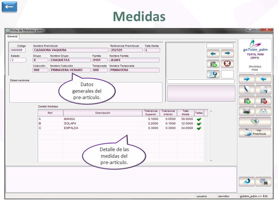 Medidas ← Datos generales del pre-artículo. Detalle de las medidas del