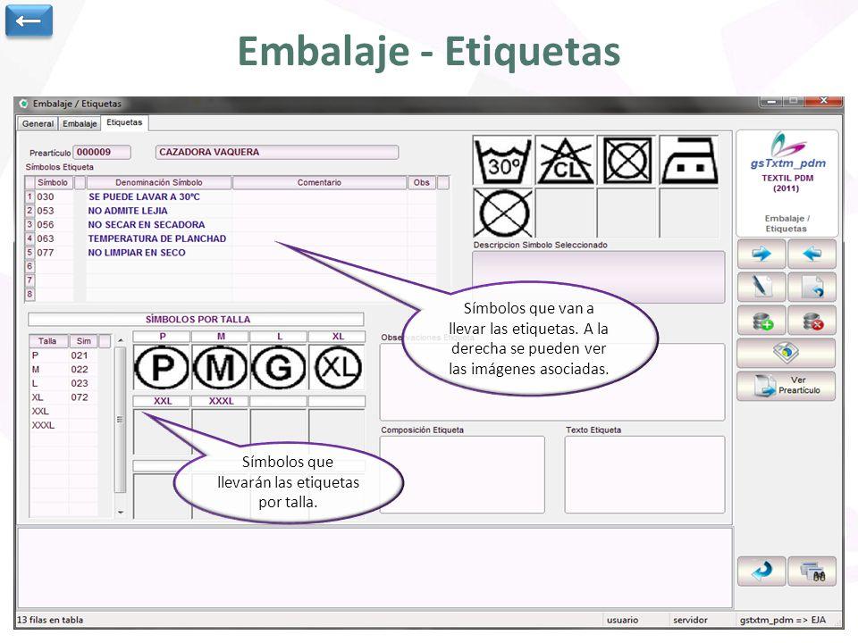 Embalaje - Etiquetas ← Datos generales del pre-artículo