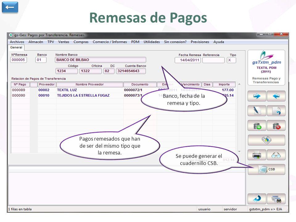 Remesas de Pagos ← Banco, fecha de la remesa y tipo.