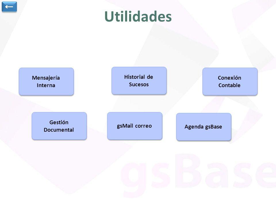 Utilidades ← Mensajería Interna Historial de Sucesos Conexión Contable
